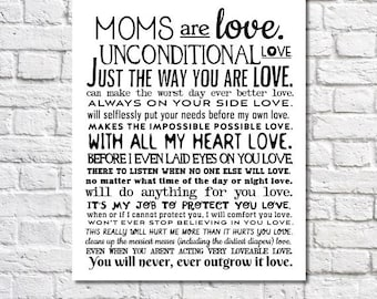 mothers day gift for mom unconditional love poem art print birthday gift for mom wall art wedding gift for mom motherhood quote poster