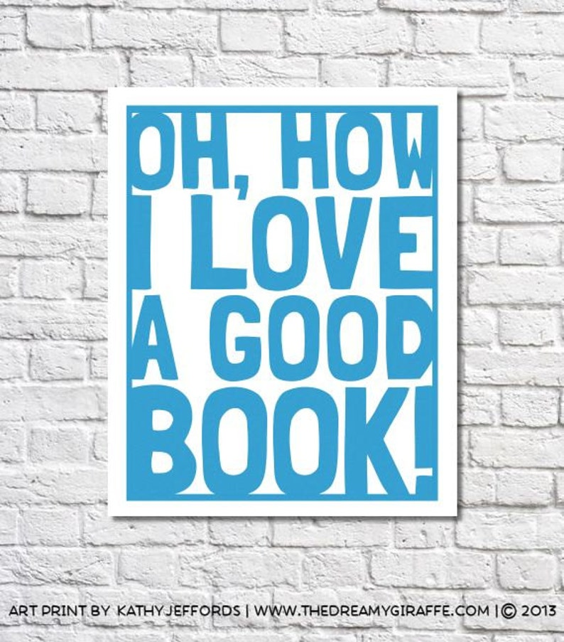 Reading Poster I Love Books Typographic Print Library Wall Art image 0