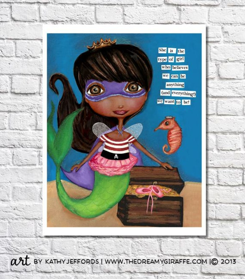 African American Mermaid Art Superhero Dark Skin Princess image 0