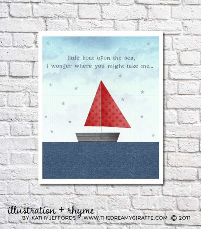 Red And Blue Little Boat On The Sea Print. Sailboat Art For image 0