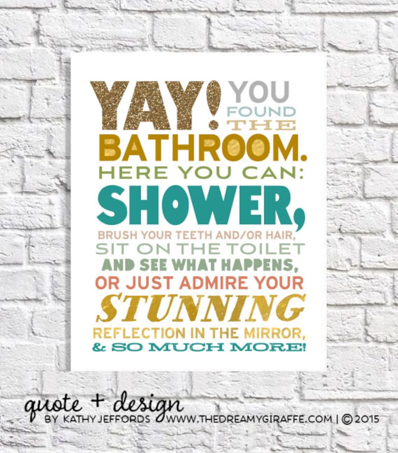 Funny Bathroom Art For The Bathroom Modern Bathroom Decor Kids image 0