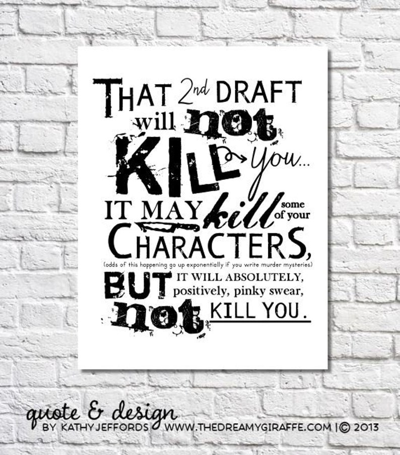 2nd Draft Typographic Print Second Draft Art Writing Sign Gift image 0