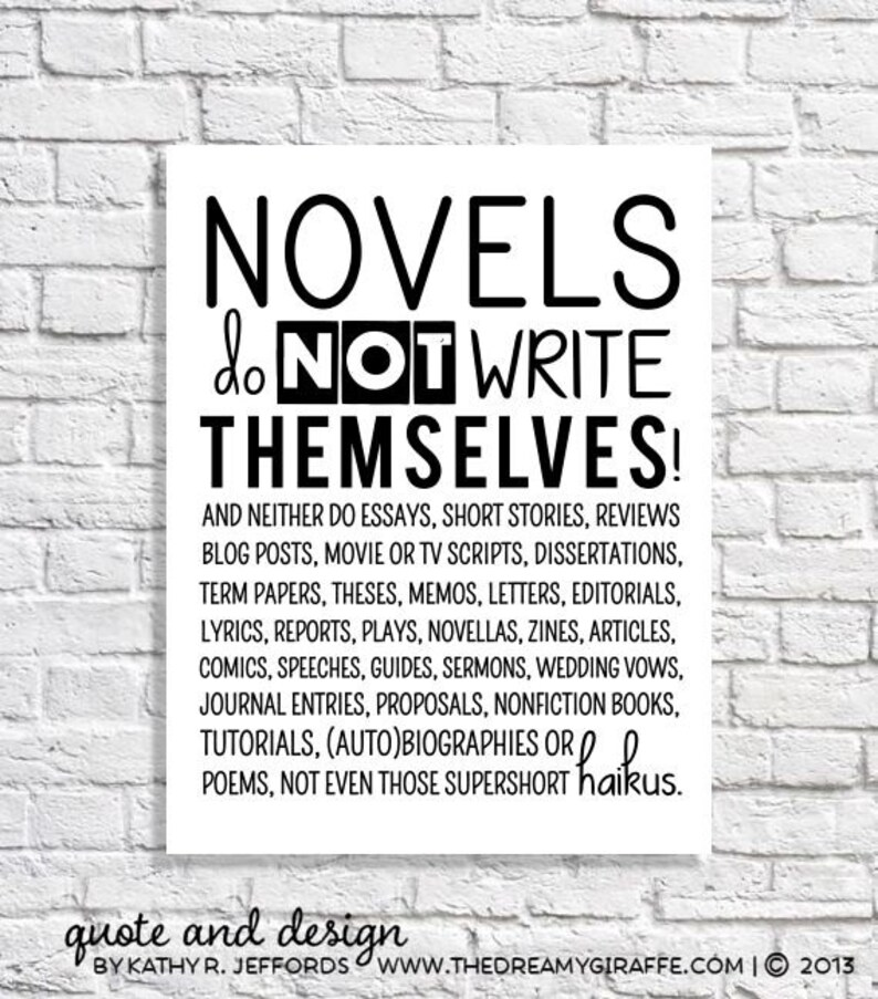 Novel Writing Quote Print Poster English Classroom Wall Art image 0