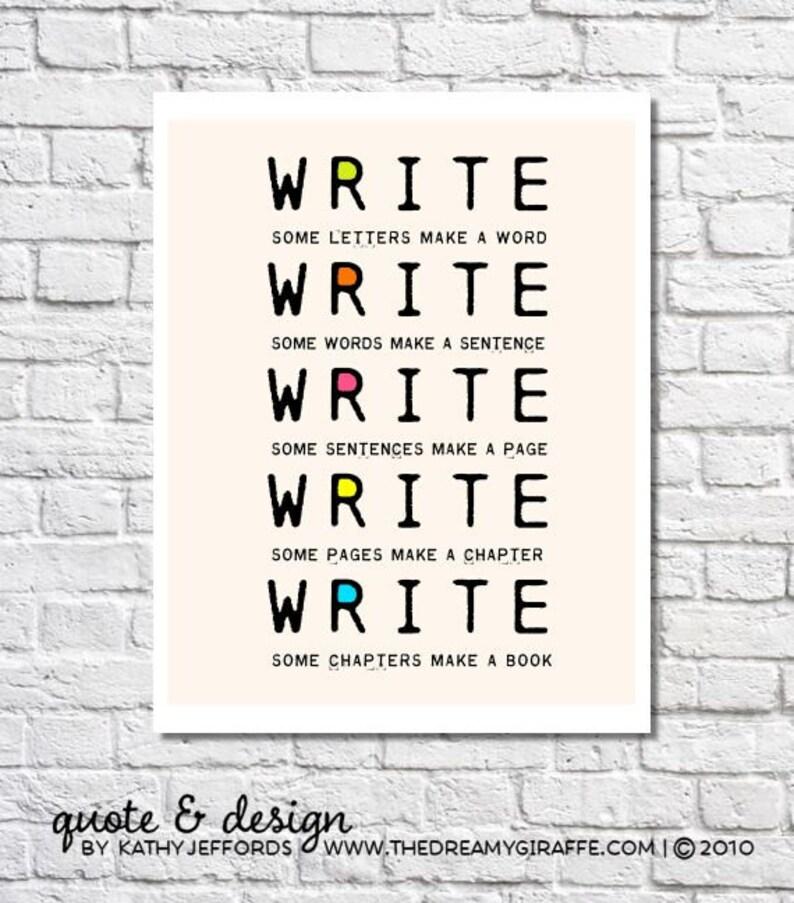 Write Write Write Typographic Print Book Writers Motivation image 0