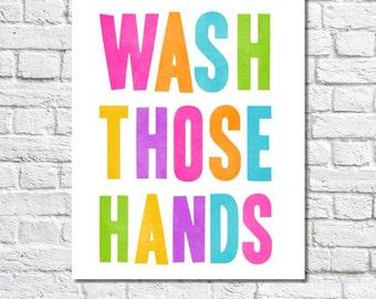 Kid's Bathroom Art Wash Your Hands Print Colorful Bathroom Rules Artwork Neon Wash Your Hands Sign Childrens Bathroom Decor Wash Those Hands