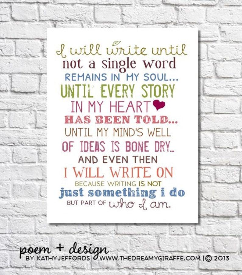 I Will Write Typography Print Motivational Wall Art image 0