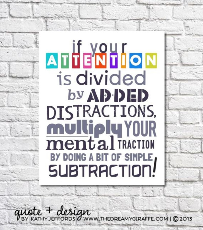 Math Art Print Nerd Gift If Your Attention Is Divided Quote image 0