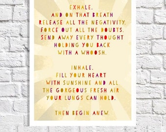 Inspirational Quote Print Positive Energy Poster Uplifting Artwork Office Decor Motivational Sayings Wall Art Sunshine Quote Breathe Sign