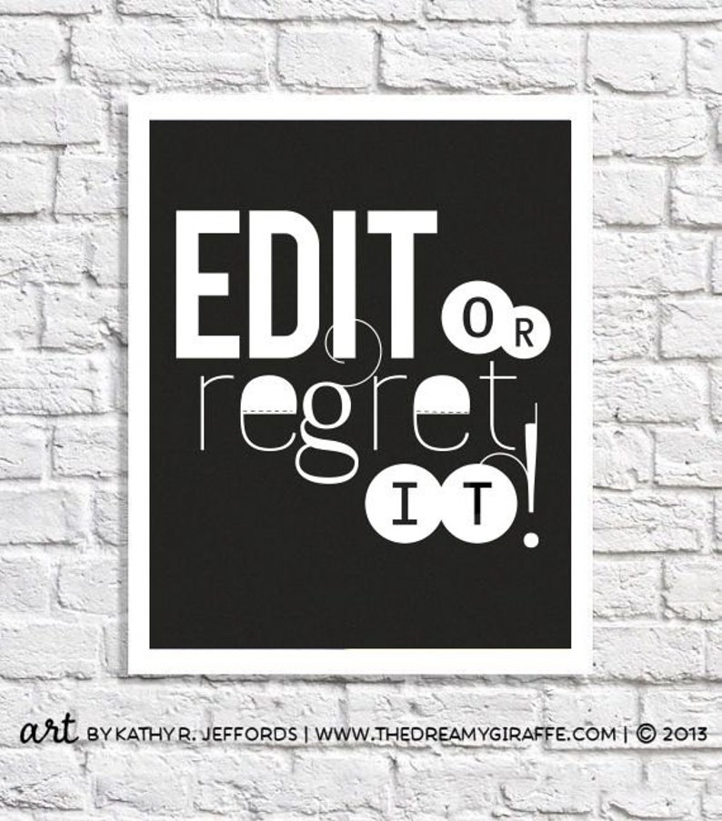 Edit Or Regret It Typographic Print Proofreading Poster image 0
