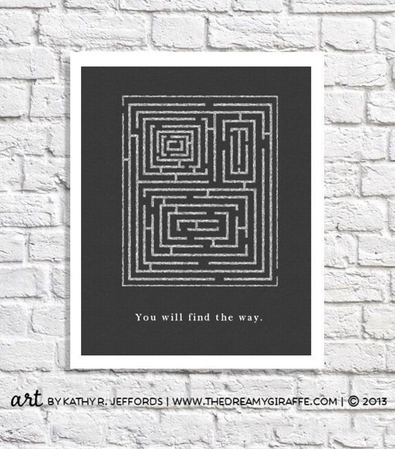 Inspiring Quote Maze Art Encouragement Gift Depression Print image 0