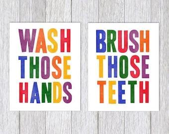 "Bathroom PRINTABLE Set Wash Your Hands Sign Brush Those Teeth Wash Those Hands JPEG Files Digital Download Art Print Wall Decor 8"" x 10"" PDF"