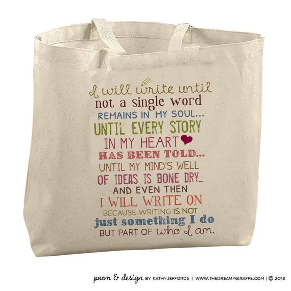 Writers Canvas Tote Bag Writer Gift Library Bag Author