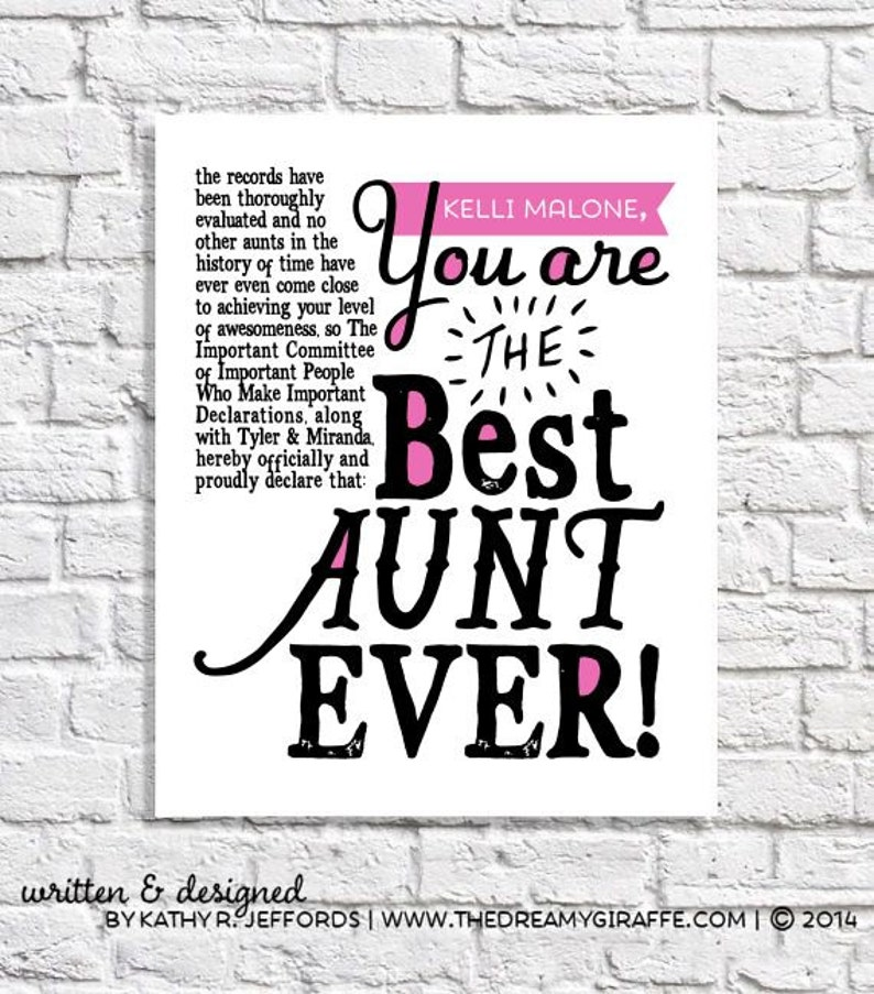 Aunt Gift Best Aunt Ever Print Personalized Aunt Gift From image 0