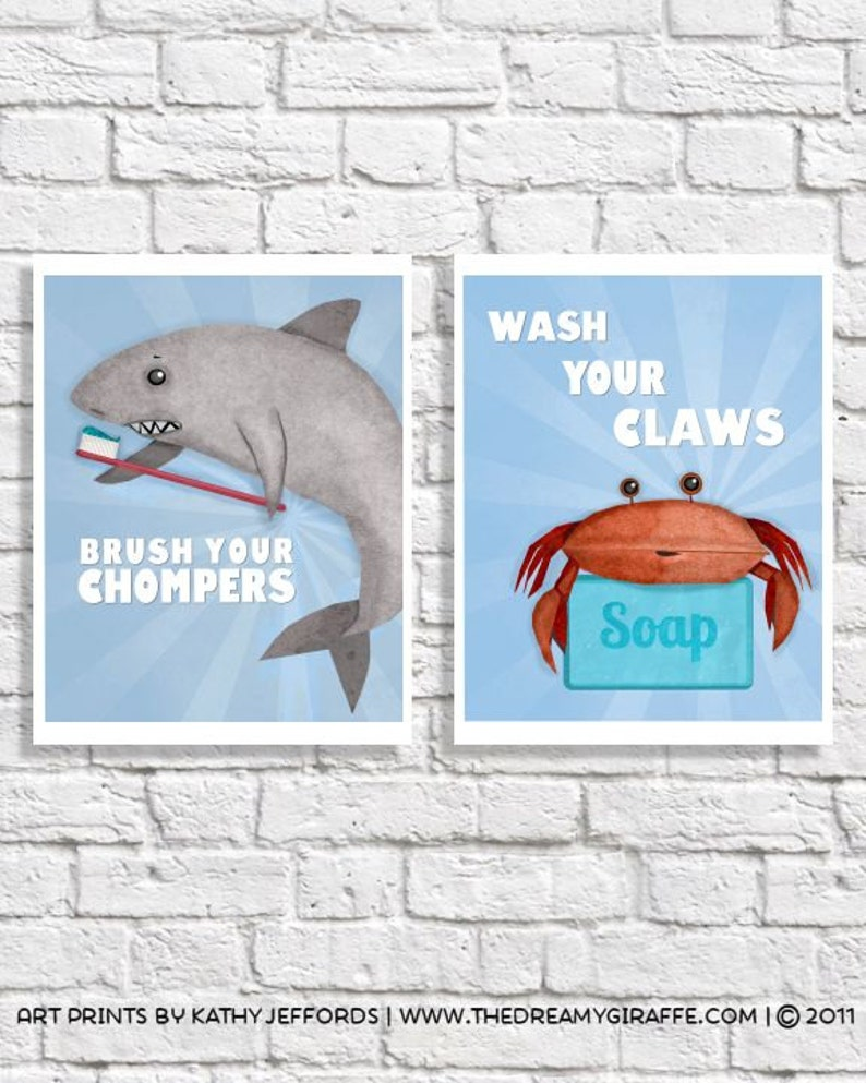 Bathroom Art Set Of 2 Wash Your Hands Brush Your Teeth Prints image 0