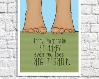 Positive Attitude Poster Cute Office Decor Happiness Saying Inspiring Wall Art Smile Quote Print African American Pictures Motivational Word