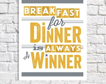 Retro Kitchen Art Breakfast For Dinner Print Breakfast Nook Wall Artwork Kitchen Quote Poster Diner Sign Yellow & Gray Kitchen Decor Picture