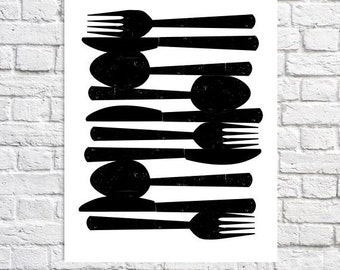 Kitchen Utensil Decor Spoon And Fork Wall Decor Fork & Knife Minimalist Art Print Decor For Kitchen Walls Small Poster Home Decorating Ideas