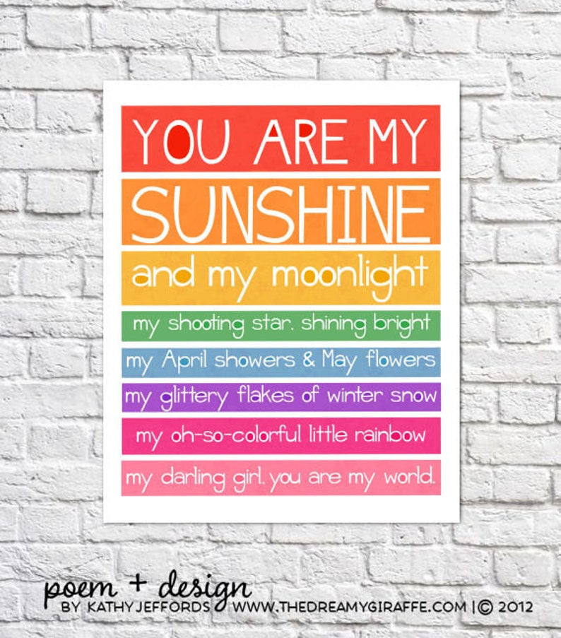 You Are My Sunshine Art Rainbow Nursery Decor Bright Wall Art image 0