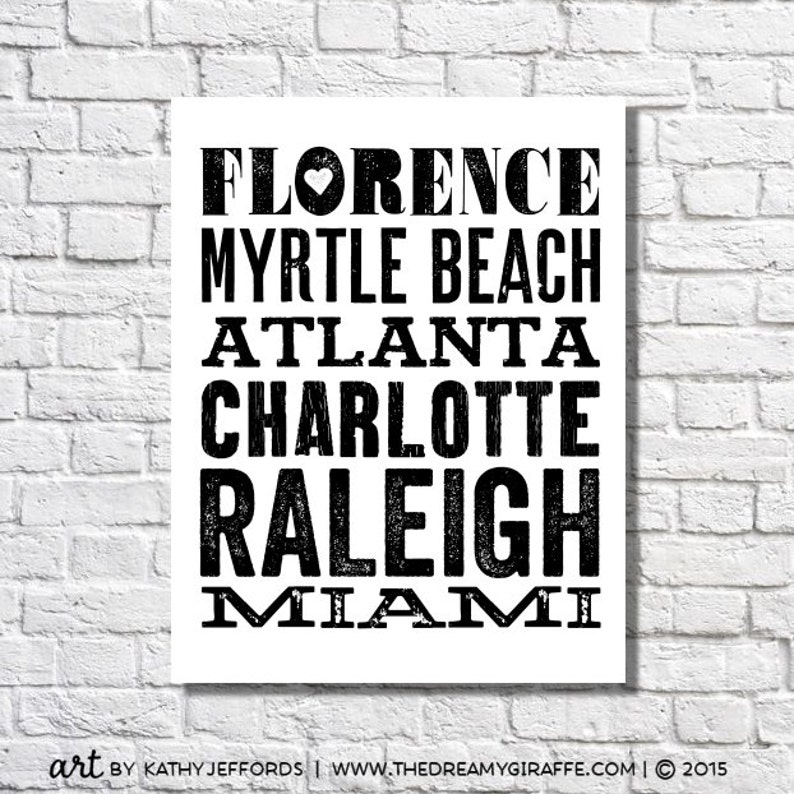 City Names Typographic Print Travel Bucket List Poster image 0