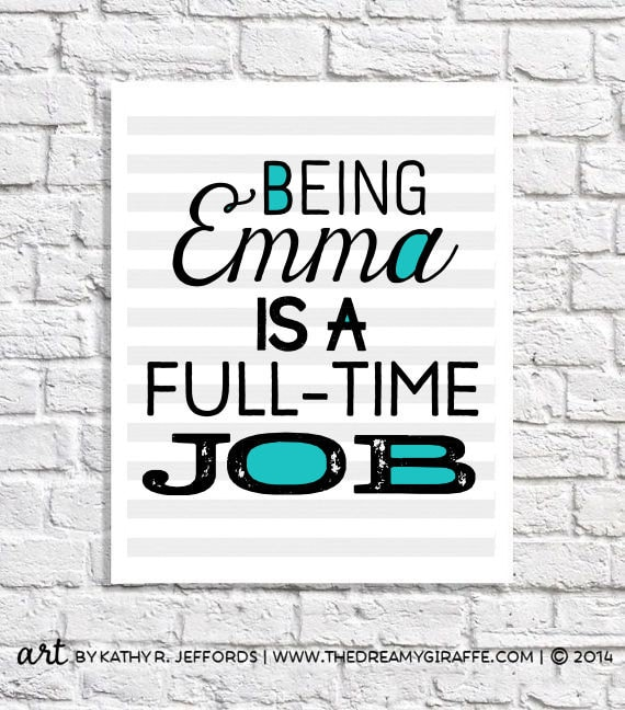 Personalized Girl Gift Emma Name Art Print 11 Year Old