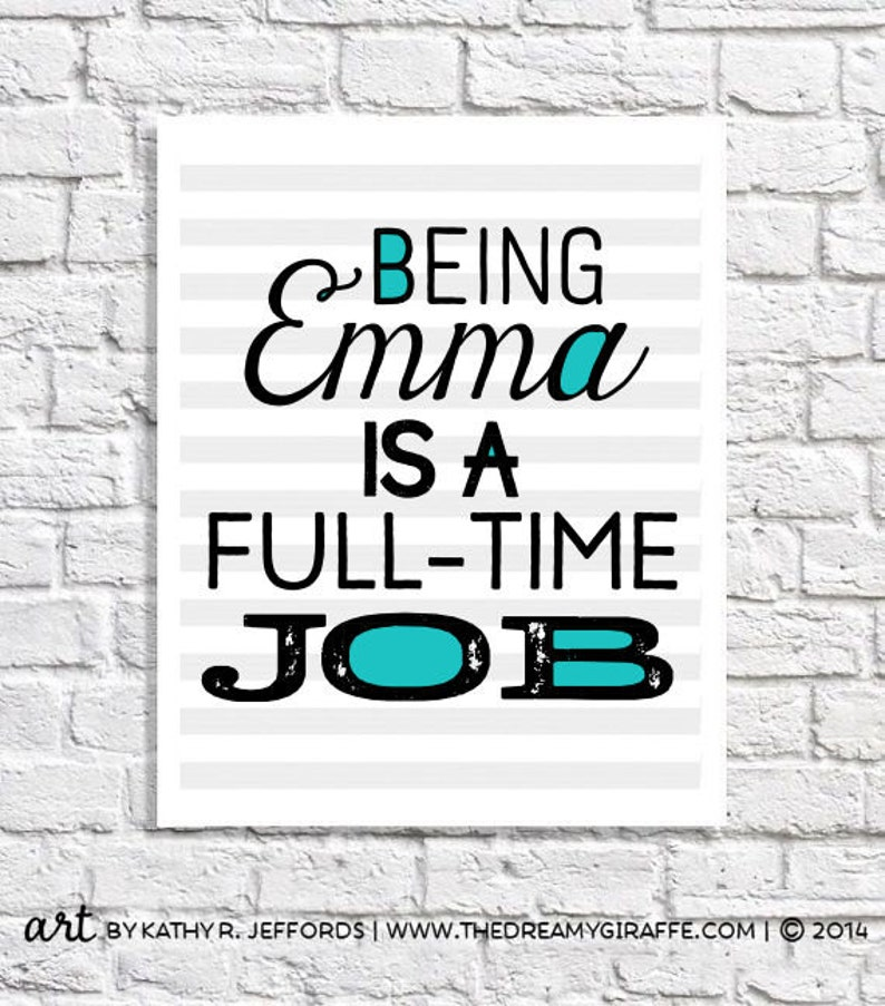 Personalized Girl Gift Emma Name Art Print 11 Year Old Girl image 0