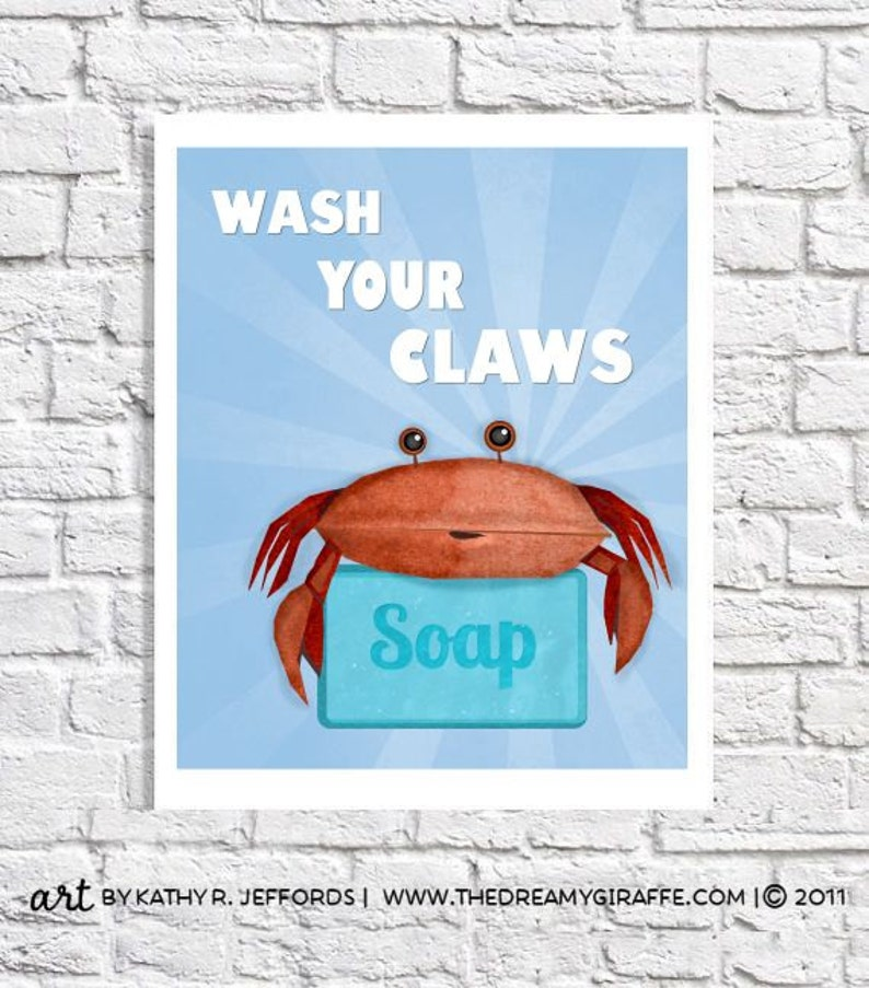 Wash Your Hands Print Crab Art Blue Bathroom Rules Sign Beach image 0