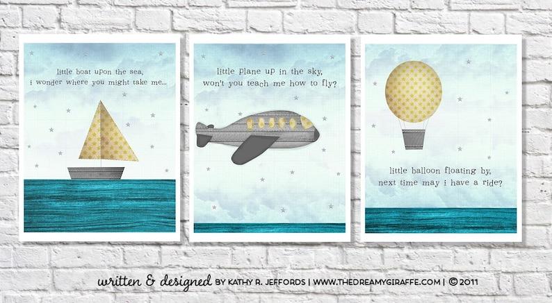 Travel Nursery Art Set Of 3 Prints Little Boy Quote Kid image 0