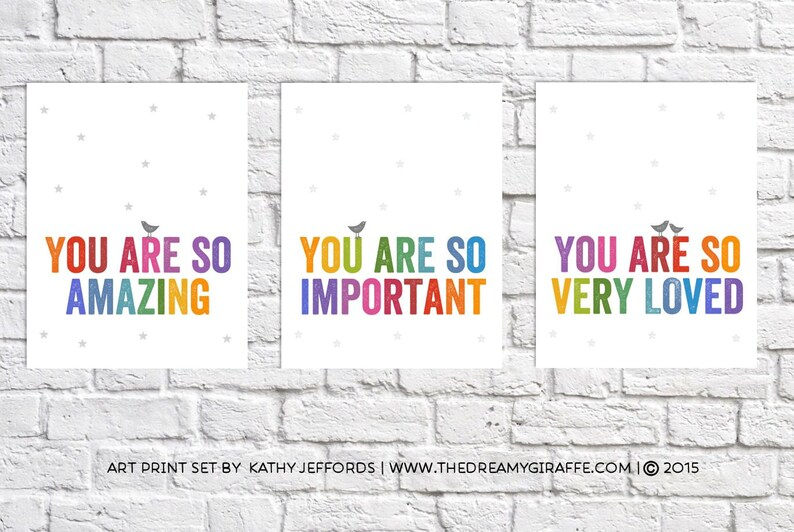 Nursery Print Set Of 3 Wall Art For Girls Room Prints Colorful image 0