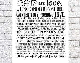 Cat Art Print Gift For Cat Lover Cat Lady Gift Cat Quote Cats Are Love Poem Rescue Cat Wall Art I Love My Cat Typography Poster Pet Adoption