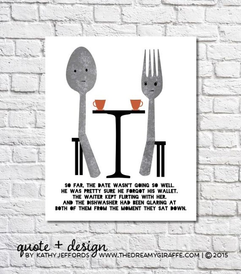 Fork And Spoon Wall Art Fork & Spoon Kitchen Decor Funny image 0