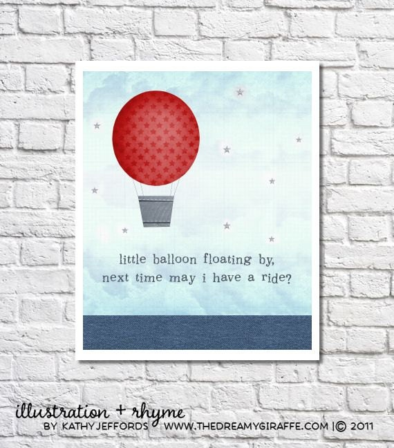 Hot Air Balloon Nursery Decor Baby Boy Quote Navy And Red Etsy