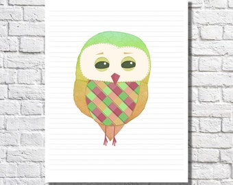 Lime Green Nursery Decor Quirky Art Print For Nursery Owl Wall Art Unique Artwork For Children Neon Art Modern Kids Bright Color Baby Room