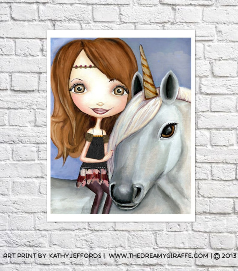 Unicorn Art Print Unicorn & Girl Big Eyed Fantasy Wall Art image 0