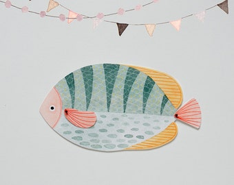 Fish Articulated Paper Doll Printable Instant Download PDF