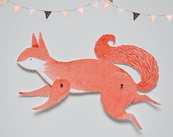 Squirrel Articulated Paper Doll Printable Instant Download PDF