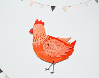Chicken Articulated Paper Doll Printable Instant Download PDF