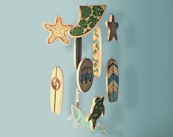 Mini Longboard Baby Mobile - Surfboards - Surf or Beach Baby Nursery - Hawaiian Inspired Designs and Sealife