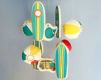Baby Mobile | Surfboard Mobile | Beach Mobile | Surf Decor | Beach Nursery | Beach Baby | Beach Ball Mobile | Whale | Sea Turtle | Surf