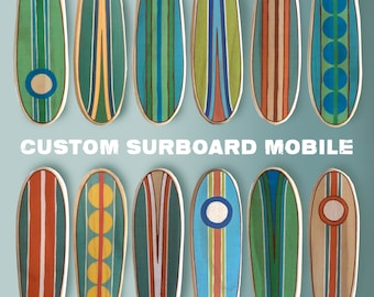 Baby Crib Mobile, Wooden Surfboard Baby Mobile, Custom Nautical Baby Mobile, Unique Baby Crib Mobile for a Surf or Beach Themed Nursery