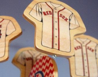 Baseball Baby Mobile for Baseball Themed Nursery, Wooden Baby Mobile, Boston Red Sox Baby Mobile