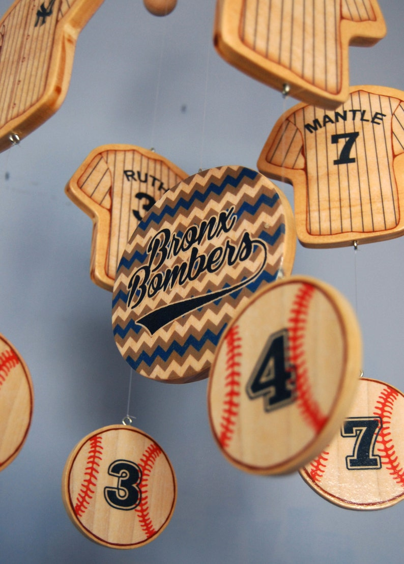 Wooden New York Yankees Baseball Baby Mobile for a ...