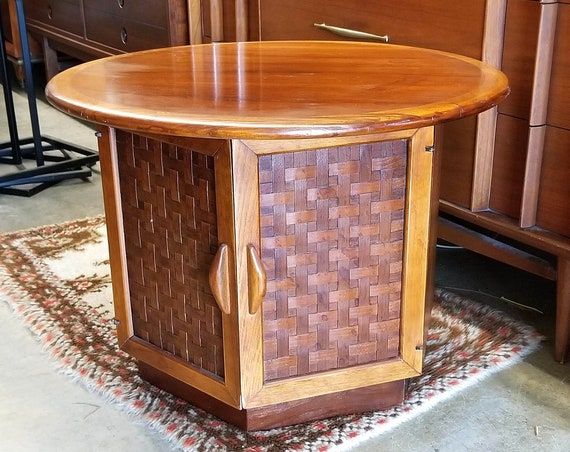 Mid Century Modern Lane Perception Round Hexagon Side End Table with Doors Caning Storage Nightstand Corner Table Coffee Table