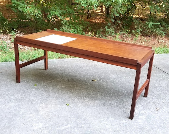 Mid Century Danish Modern Teak  And Tile Coffee Table BUYER PAYS SHIPPING