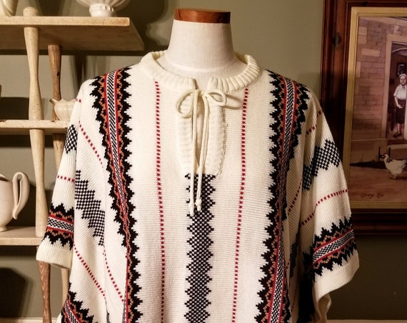 Vintage Sweater Cape Poncho Native American Design Knitted Tribal Shawl