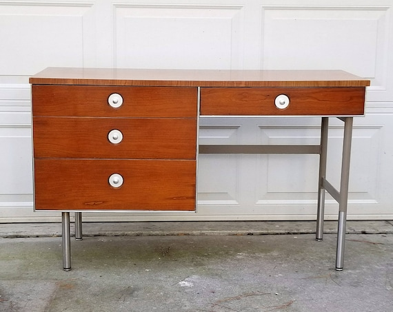 Mid Century Modern Wood and Chrome Hill-Rom Company Batesville Indiana Office Desk Home Office Kids Room Danish Modern Style  Desk