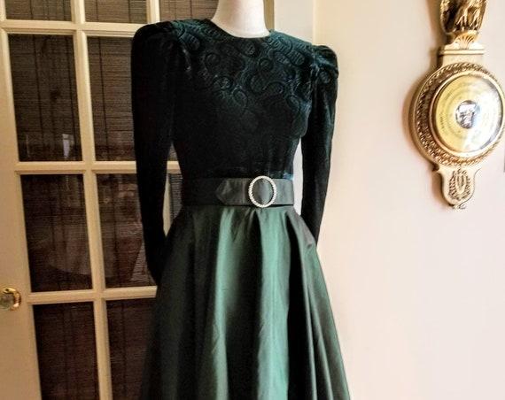 Vintage Green Velvet Holiday Dress Kono NY Studded Buckle Scoop Low Back Iridescent Sateen Skirt