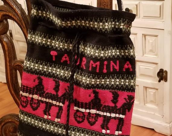 Retro Bohemian Taormina Woven Wool Bag Purse Tote Carry All