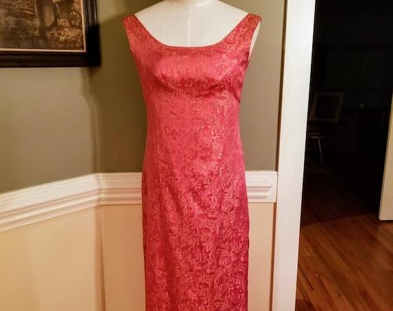 Vintage Watermelon Pink Gold Brocade Long Sleeveless Dress Formal Gown