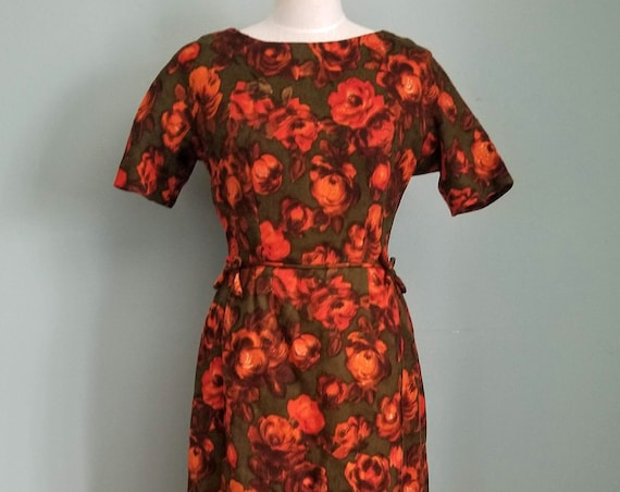 1950s Beautiful Mid Century Wool Leslie Fay Lady's Green Orange Red Vibrant Colors Dress Size 10-12