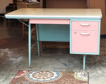 sligh furniture office room. Mid Century Pink And Pale Teal Blue Metal Desk Industrial Kids Room School Atomic BUYER Sligh Furniture Office